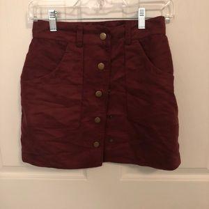 Burgundy Velvet Mini Skirt with Buttons Size XS